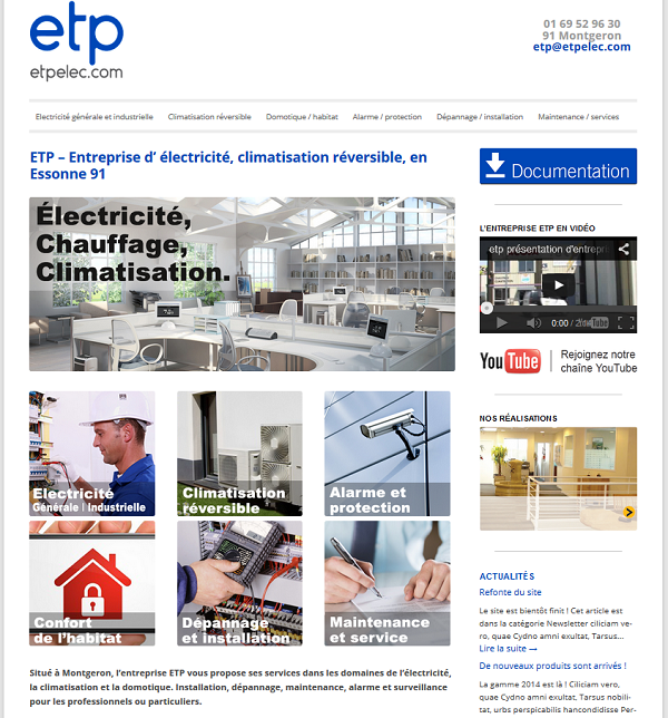 Site internet de l'entreprise ETP- Le Conseil Informatique