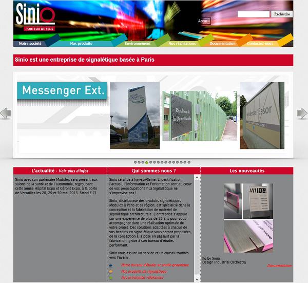 Site internet de l'entreprise Sinio- Le Conseil Informatique